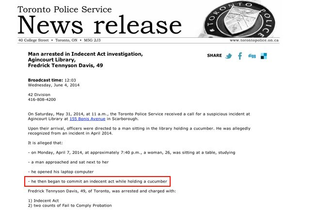 Behold: the Toronto Police Service press release of the decade