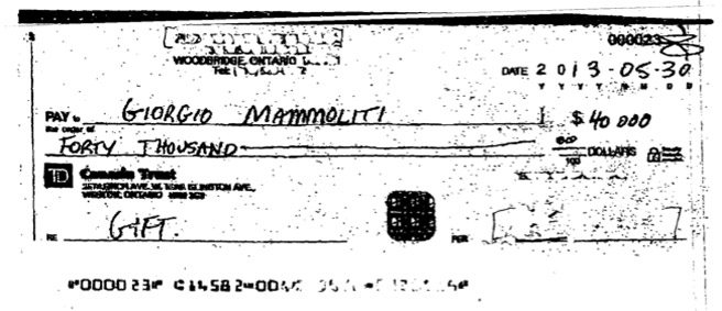 An image of one of two $40,000 cheques given to councillor Giorgio Mammoliti by an event organizer. (Image: courtesy of the city)
