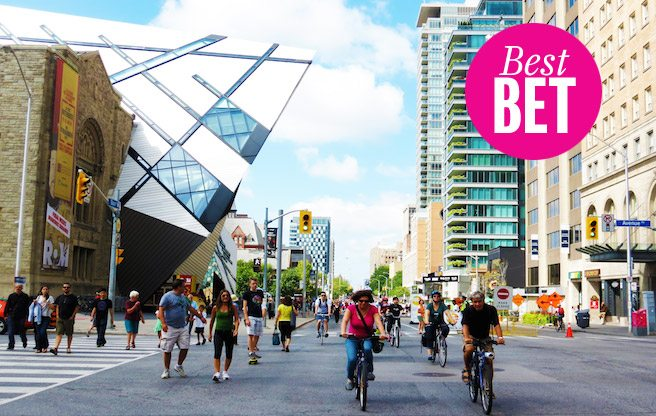 Wander Bloor and Yonge streets without dodging traffic