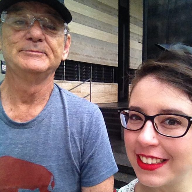 Spotted: Bill Murray biking around the Financial District, in safety glasses