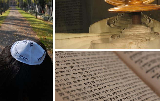 (Image: yarmulke: LWYang/Flickr; torah: J. Nathan Matais/Flickr; hebrew text: Guido Heitkoetter/Flickr)