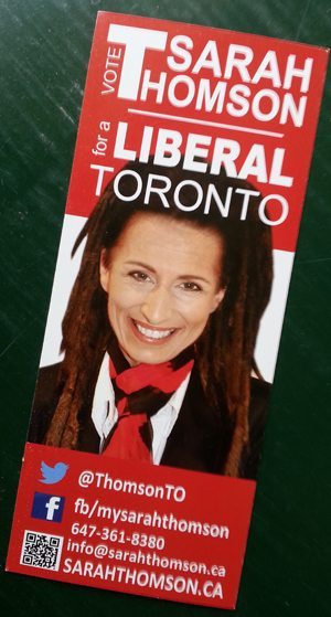 PSA: Sarah Thomson is not running for city council as a Liberal
