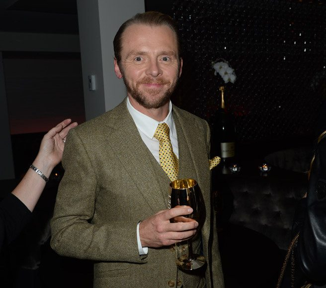Simon Pegg works the room at the <em>Hector and the Search for Happiness</em> after-party