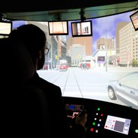 The TTC's new life-sized streetcar simulator is not a toy—but it looks like one