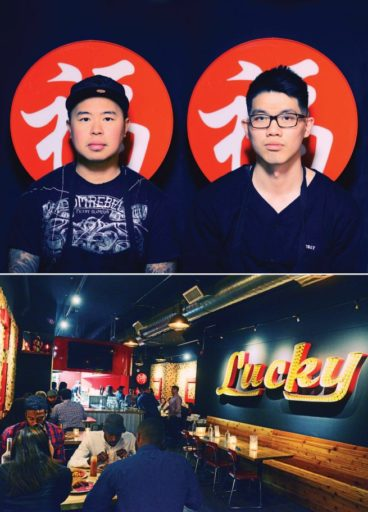 Lucky Red owner David Chau with chef Peter Nguyen and interior shot of Lucky Red