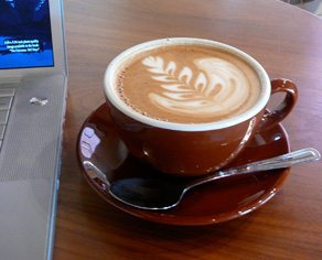 Latte and laptop