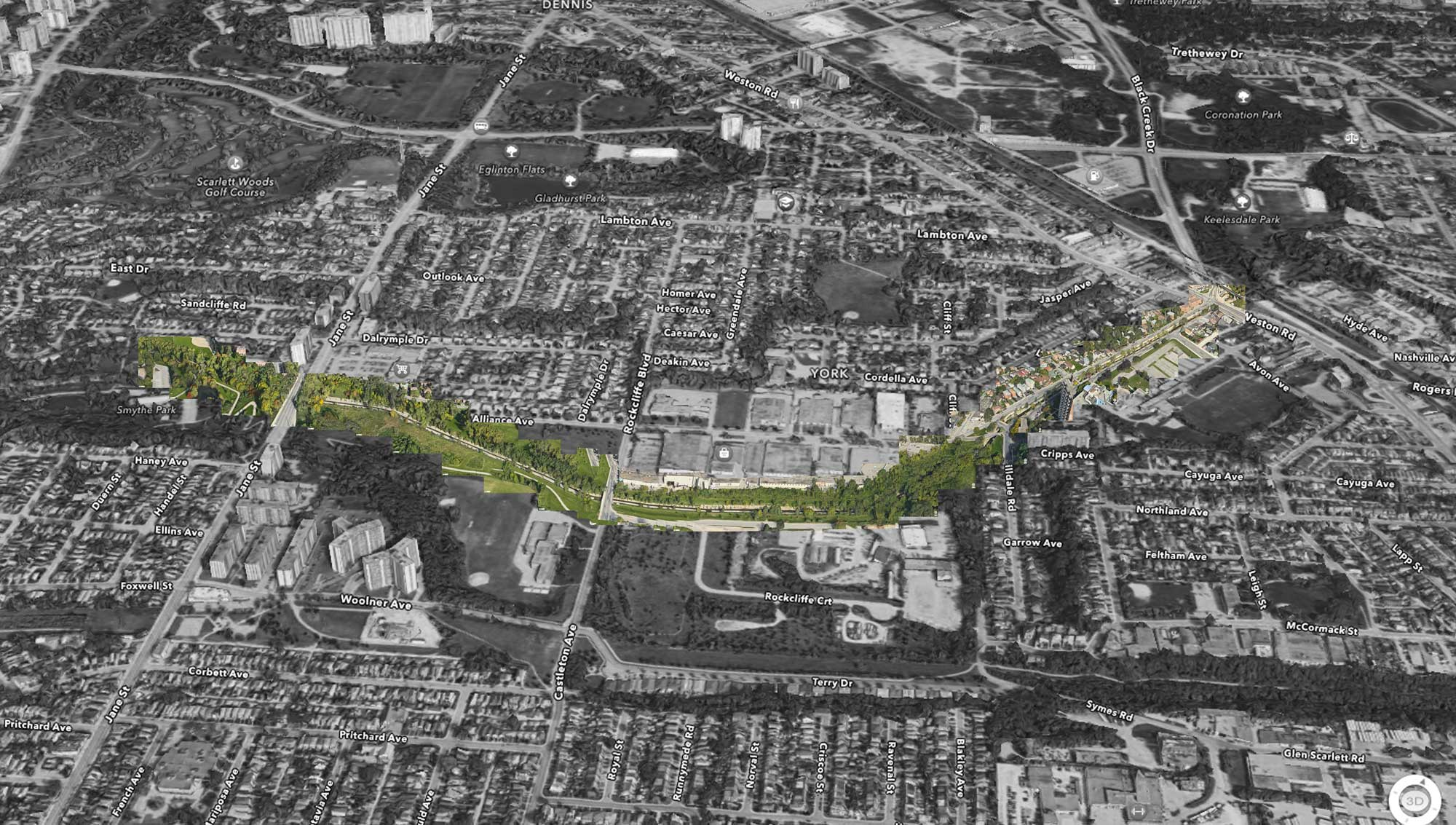 What Black Creek would look like if it became a watery High Line for the west end