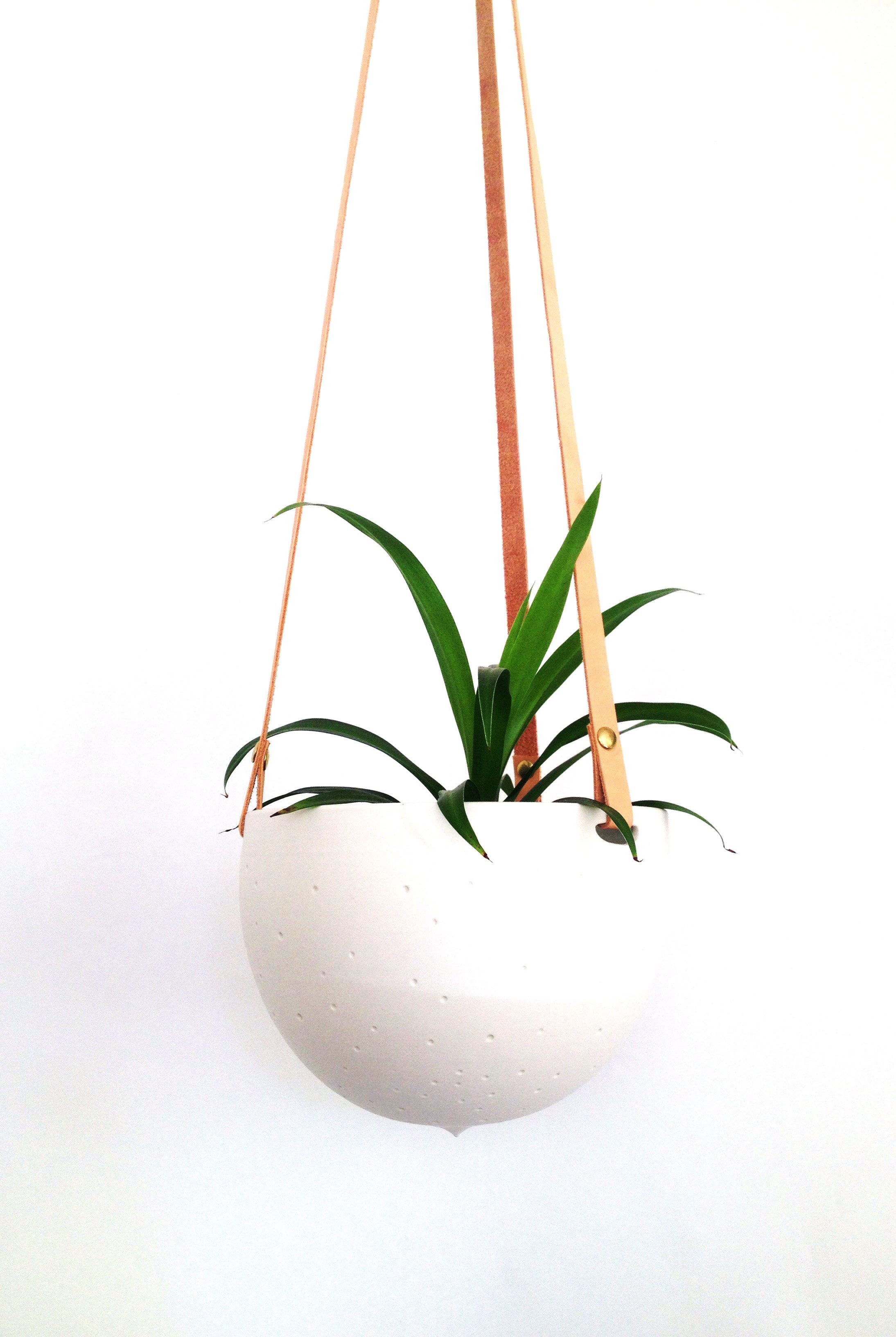 Ceramic and recycled leather hanging planter $95 by Rachel Dhawan & Aaron Reaume, Blisscraft & Brazen in collaboration with Wai-Yant Li, Créations Li
