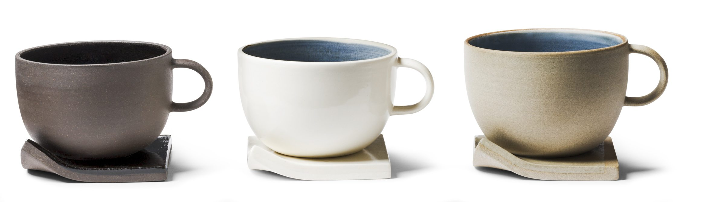 Cups and saucers $30 each by Marie-Claude Girard, Marie-Claude Girard