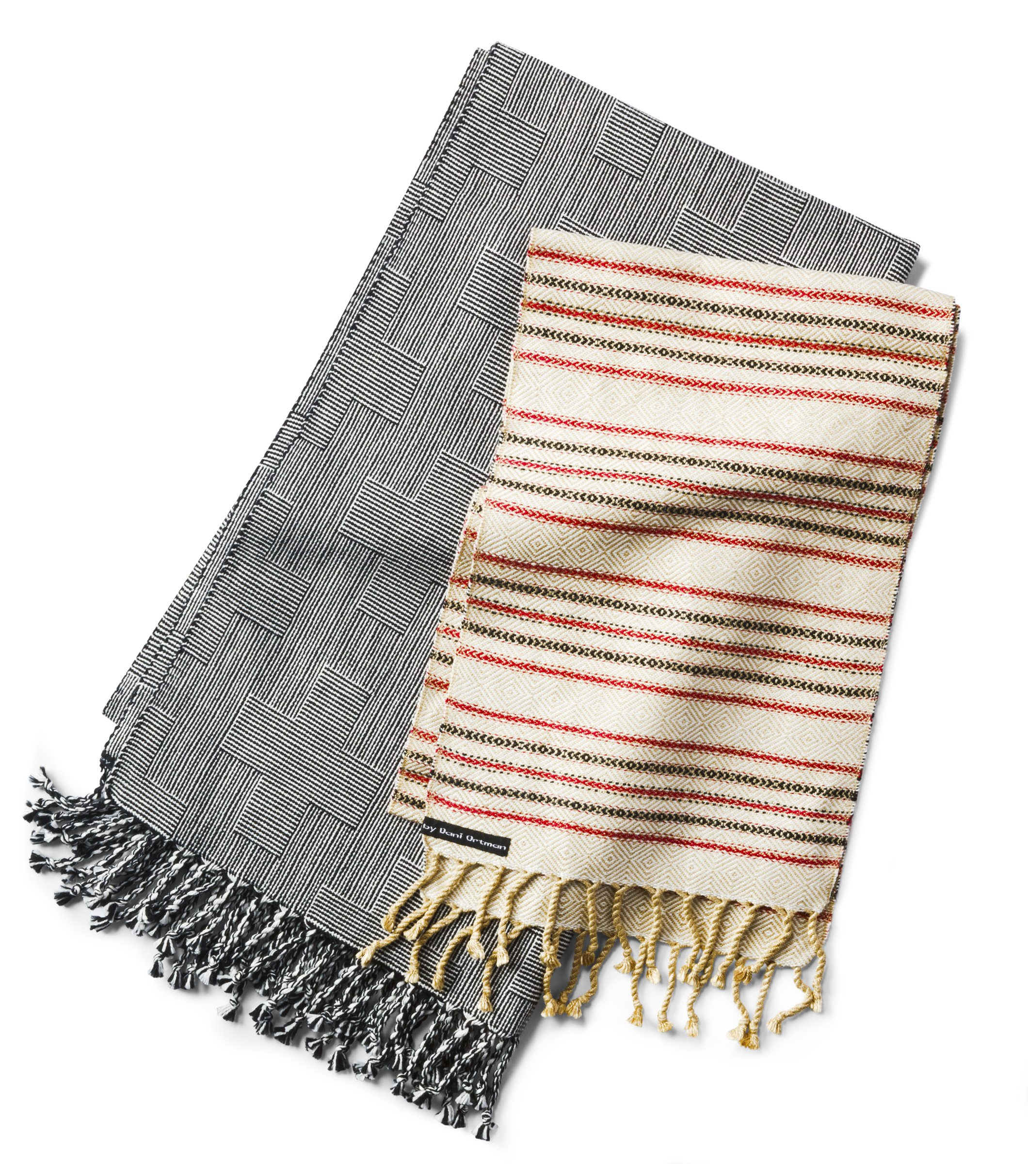Hand-woven scarves in silk and organic cotton $175 to $450 by Dani Ortman