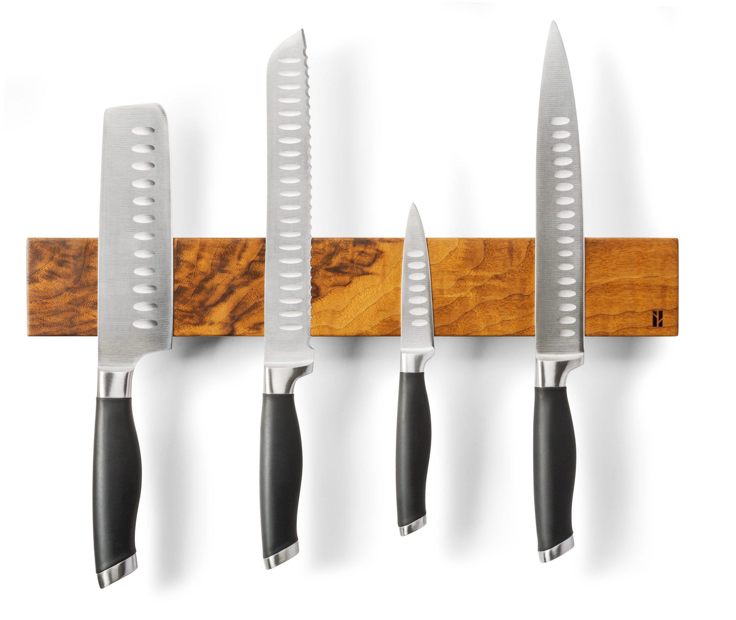 Magnetic knife holder in cherry wood $64 by Guillaume Gareau-Loyer, Beau Grain