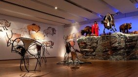 How artist Kent Monkman built his campy buffalo jump installation