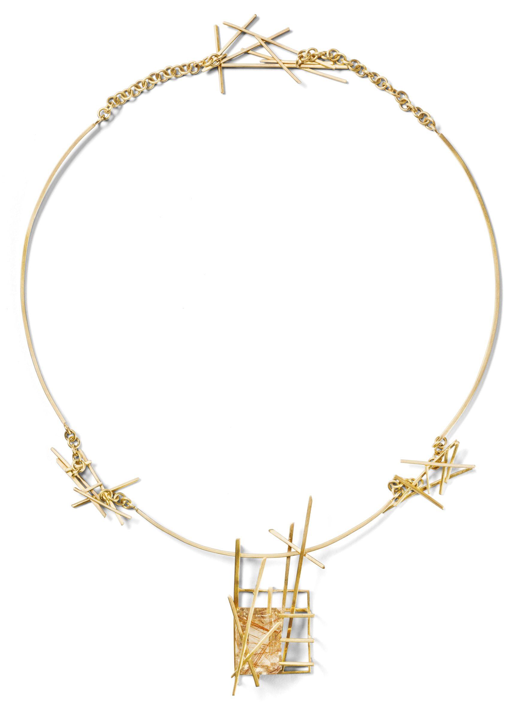 Rutilated quartz necklace in 10k yellow gold $3250 by Sin Kim, Sin Kim Jewellery