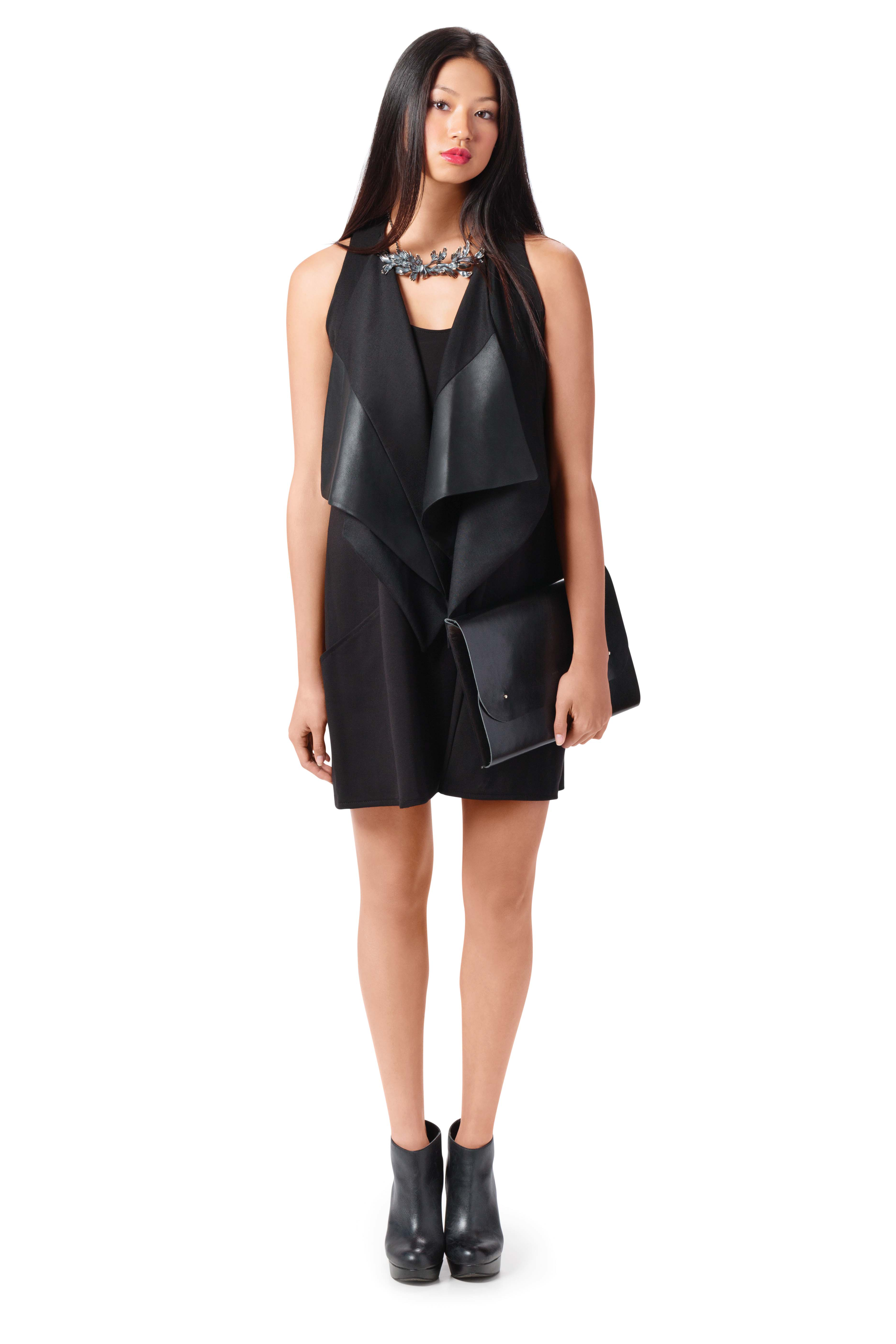 Wool vest with leather $380 and jersey dress $195 by Elisa C-Rossow, Elisa C-Rossow