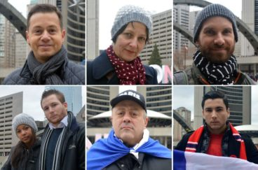 Paris vigil at Nathan Phillips Square