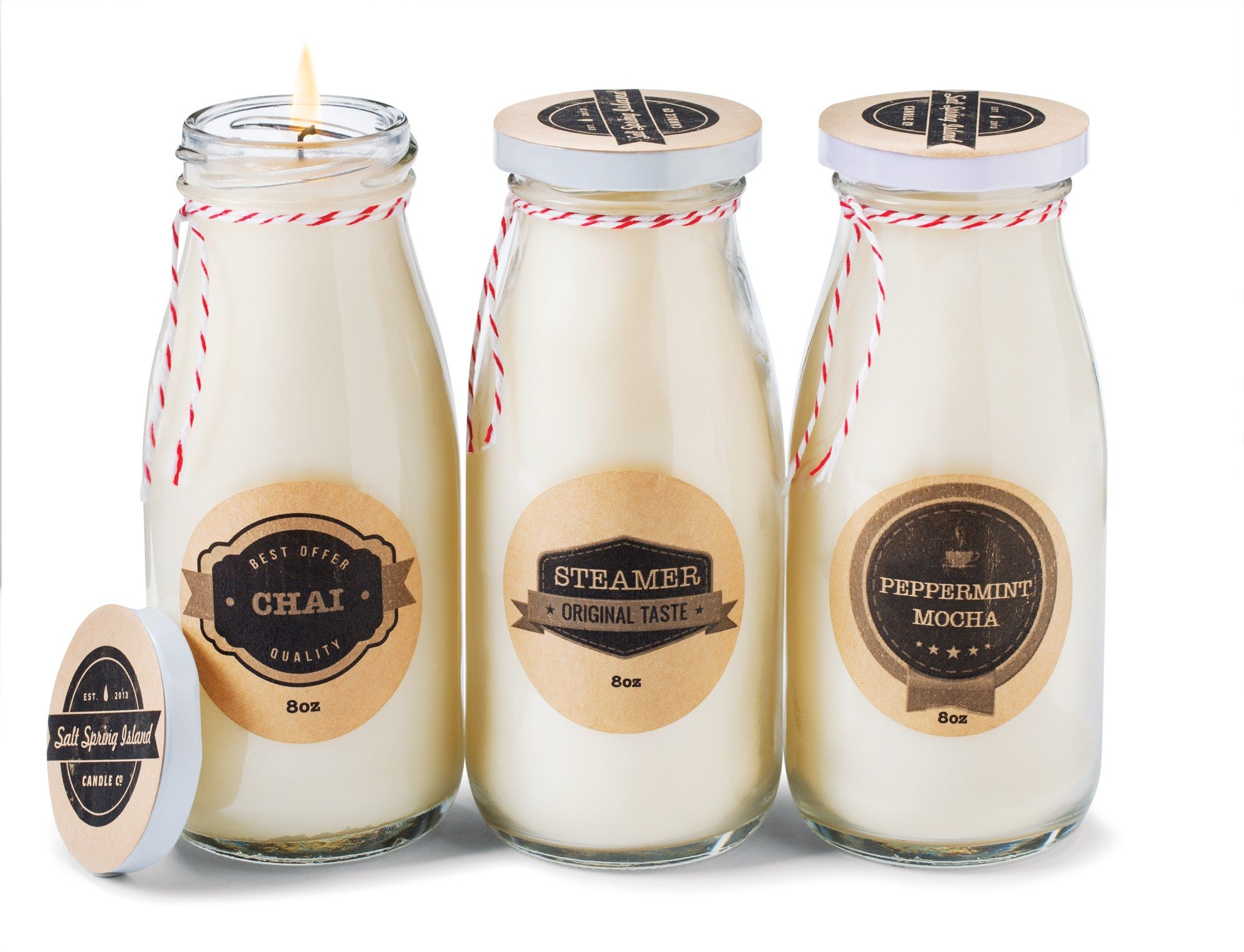Assorted milk bottle candles $25 each by Jay Campbell
