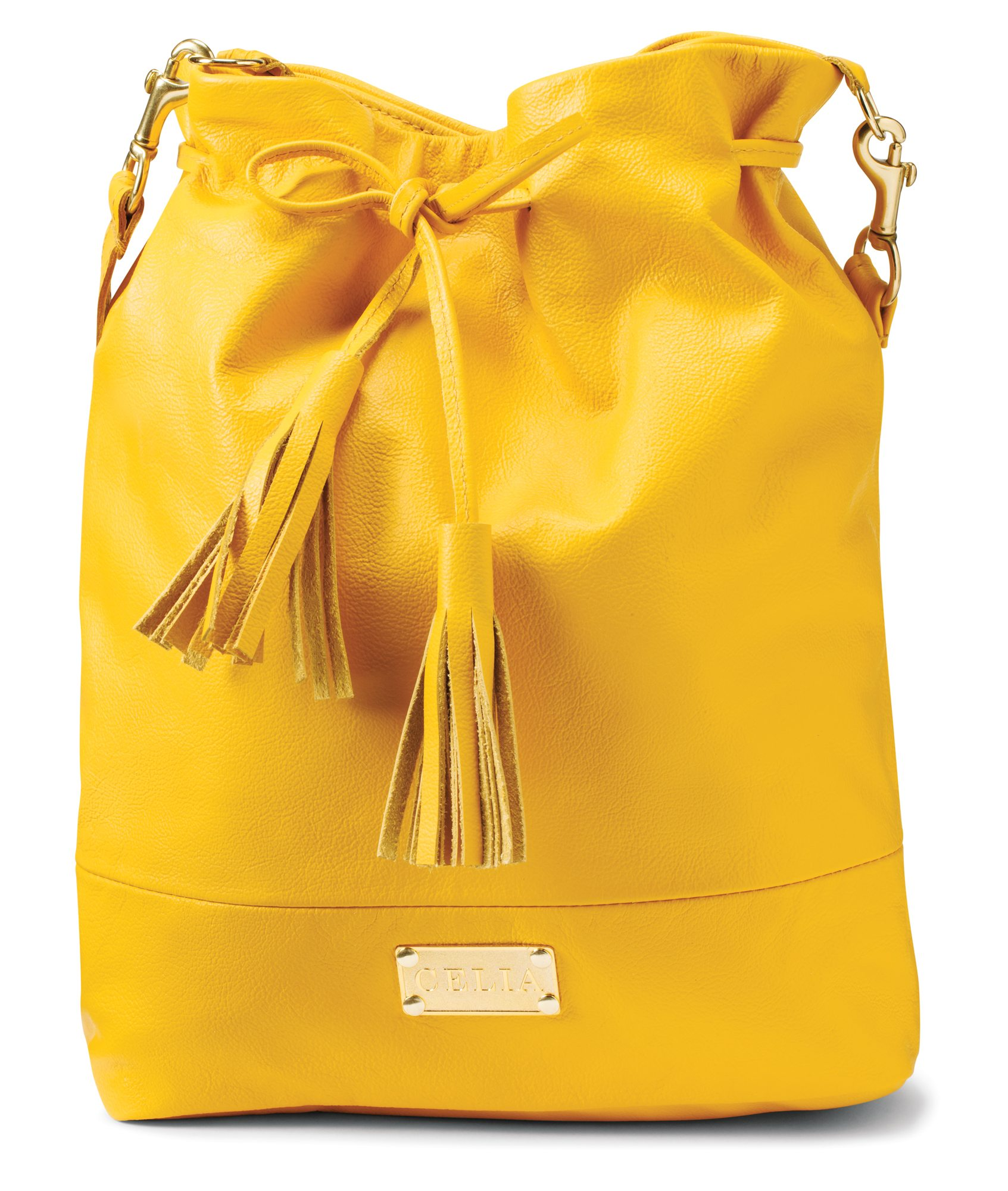 Large yellow leather drawstring bucket purse $286 by Lia Walker