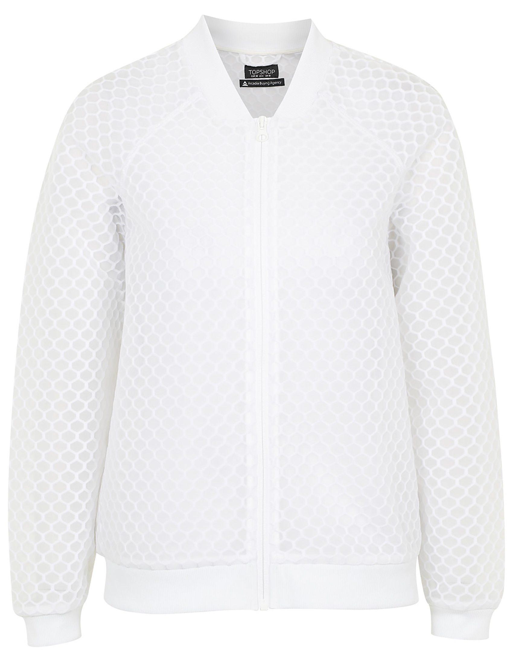 Ivy Park Hexagon Mesh Bomber in White, $115 NEW