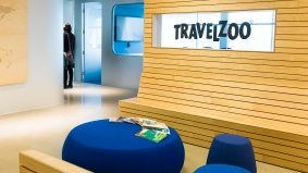 "Inside Travelzoo's sky-high office, with stellar city views and an indoor ""park"""