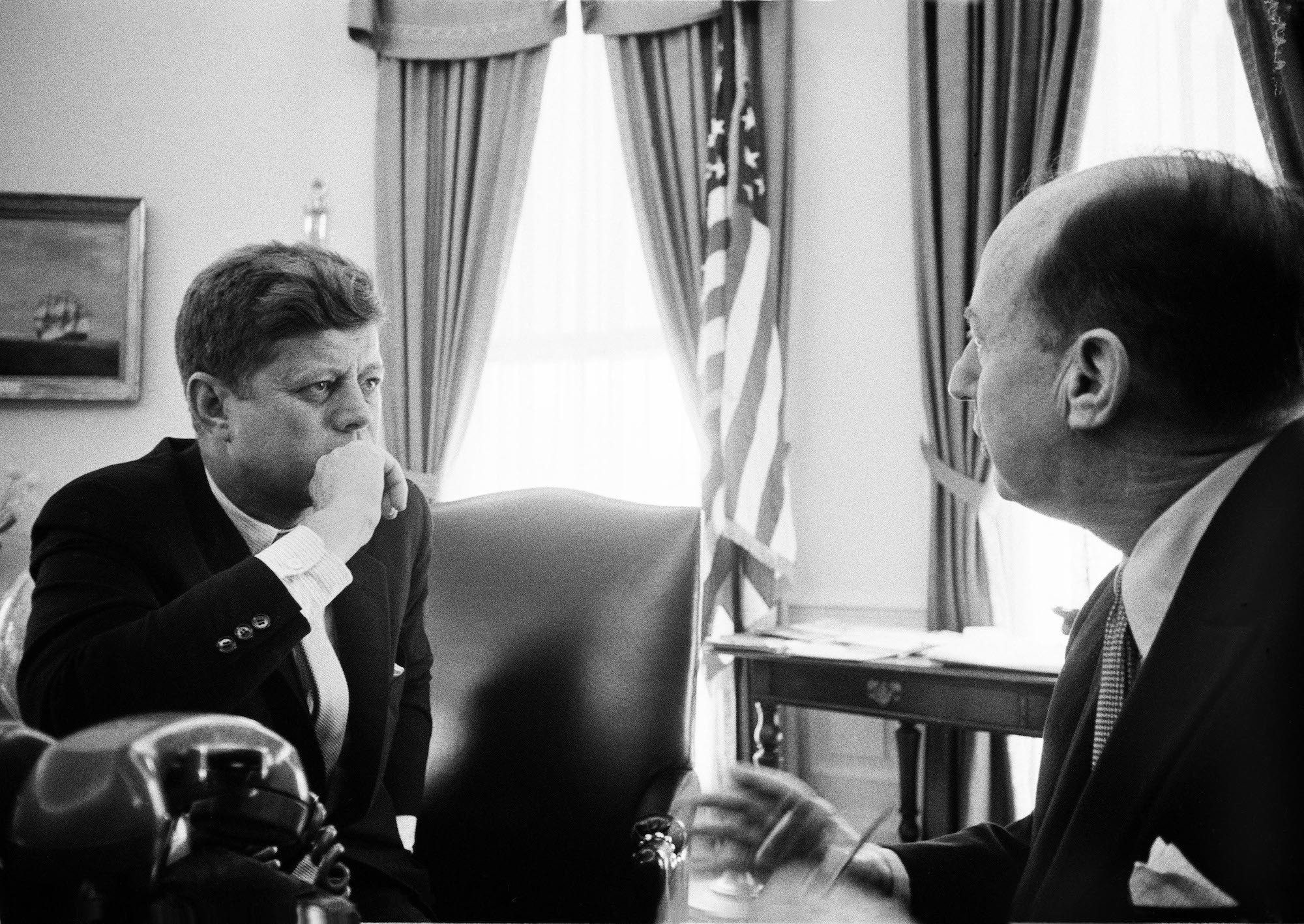 Kirkland took this photo of President John F. Kennedy and United Nations ambassador Adlai Stevenson II while on assignment at the White House in 1962.