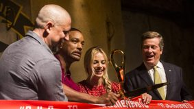 See Will Smith and Margot Robbie unveil the new <em>Suicide Squad</em> exhibit in the Distillery District