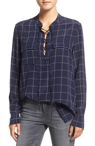 Madewell 'Monroe' Plaid Lace Up Silk Blouse $149 CAD at Nordstrom