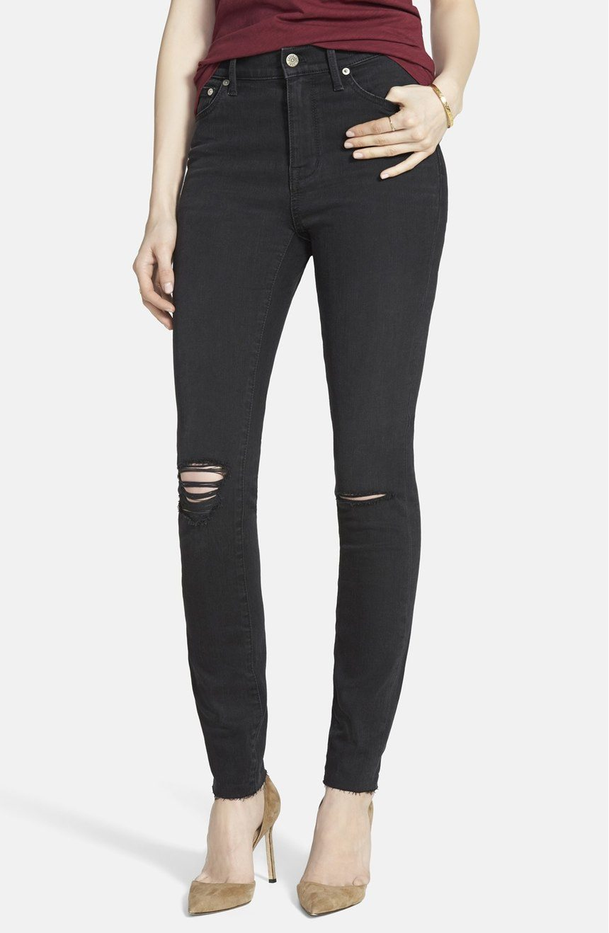 Madewell Ripped High Riser Skinny Jeans in Black Sea $173 CAD at Nordstrom