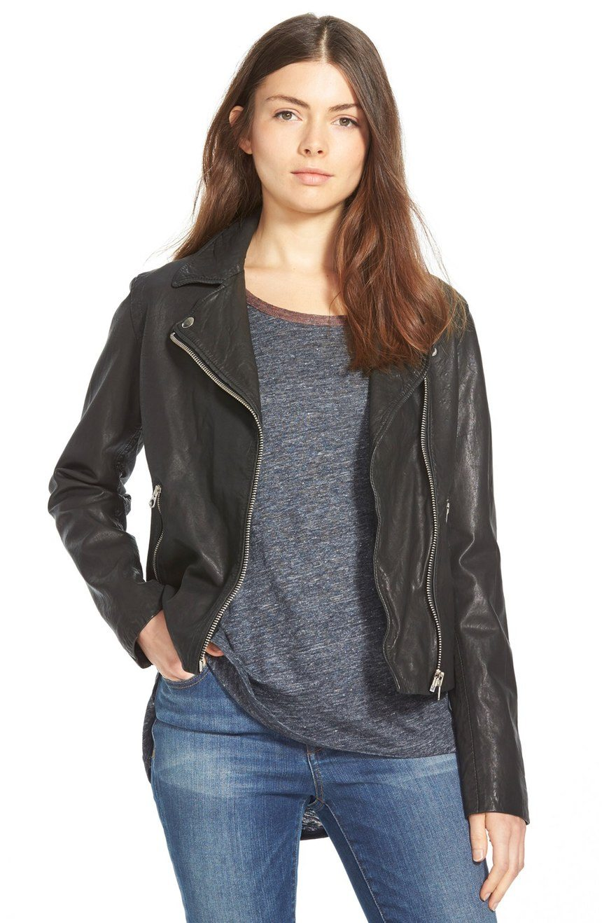 Madewell Washed Leather Motorcycle Jacket $672 CAD at Nordstrom