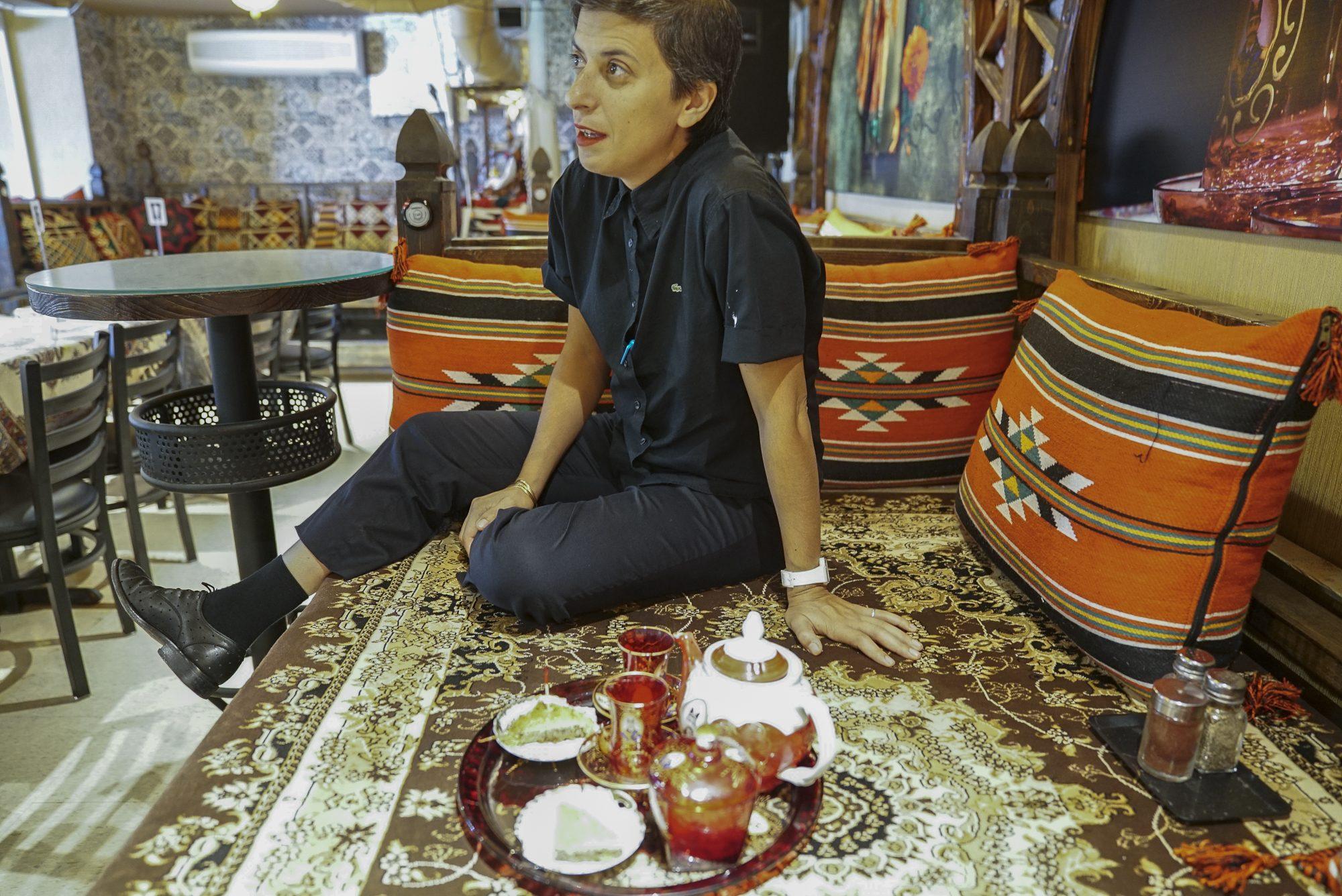 toronto-restaurants-chefs-in-the-burbs-samira-mohyeddin-banu-north-york-shabestan-sitting-with-tea