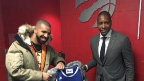The story behind Drake's new custom jacket, lined with a Toronto Huskies jersey