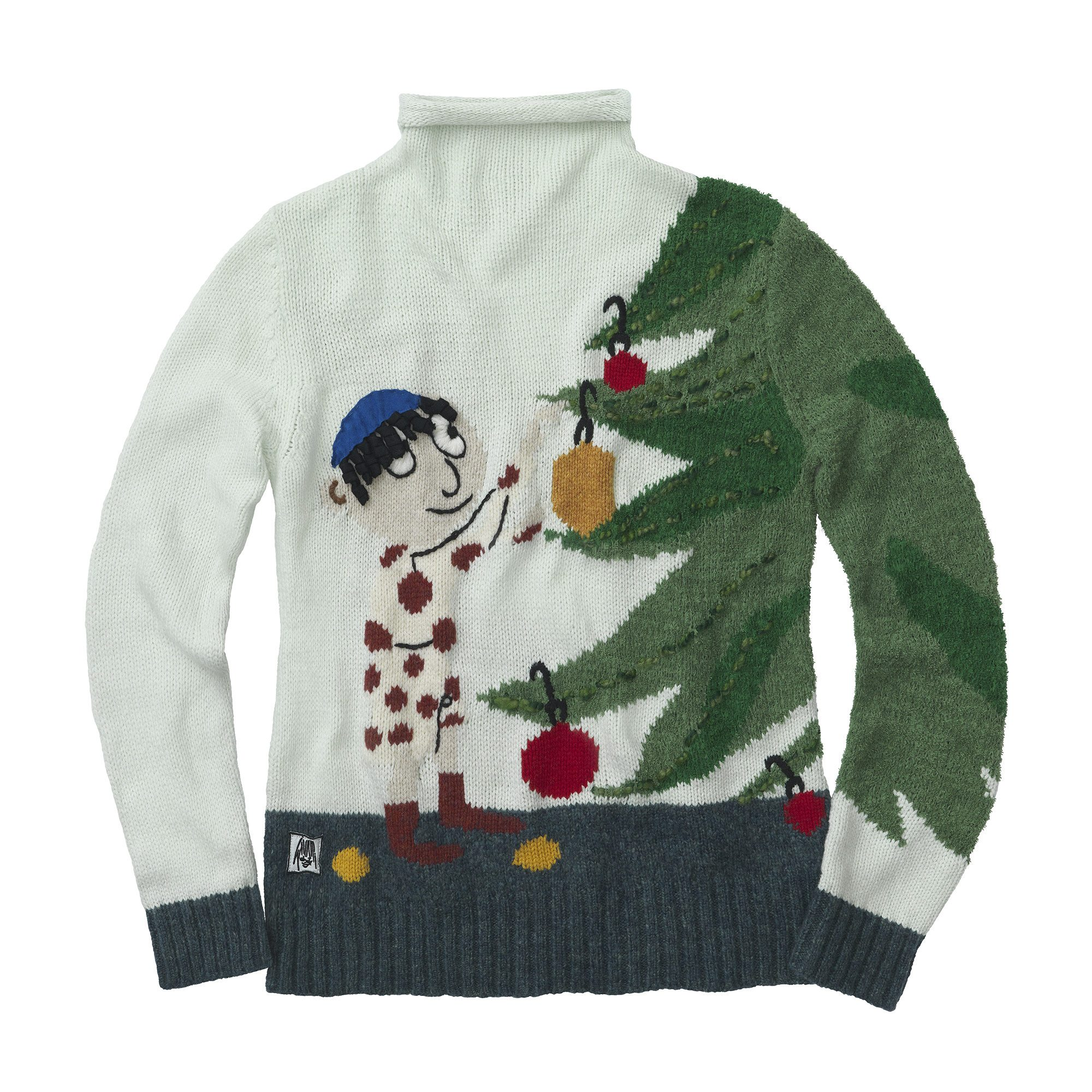 WHOOPI GOLDBERG Boy with Tree Ornaments Sweater, $179