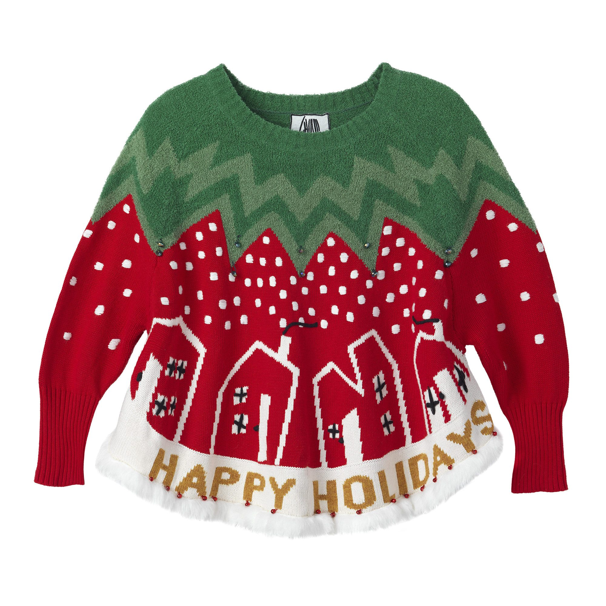 WHOOPI GOLDBERG Christmas Tree Swingy Sweater
