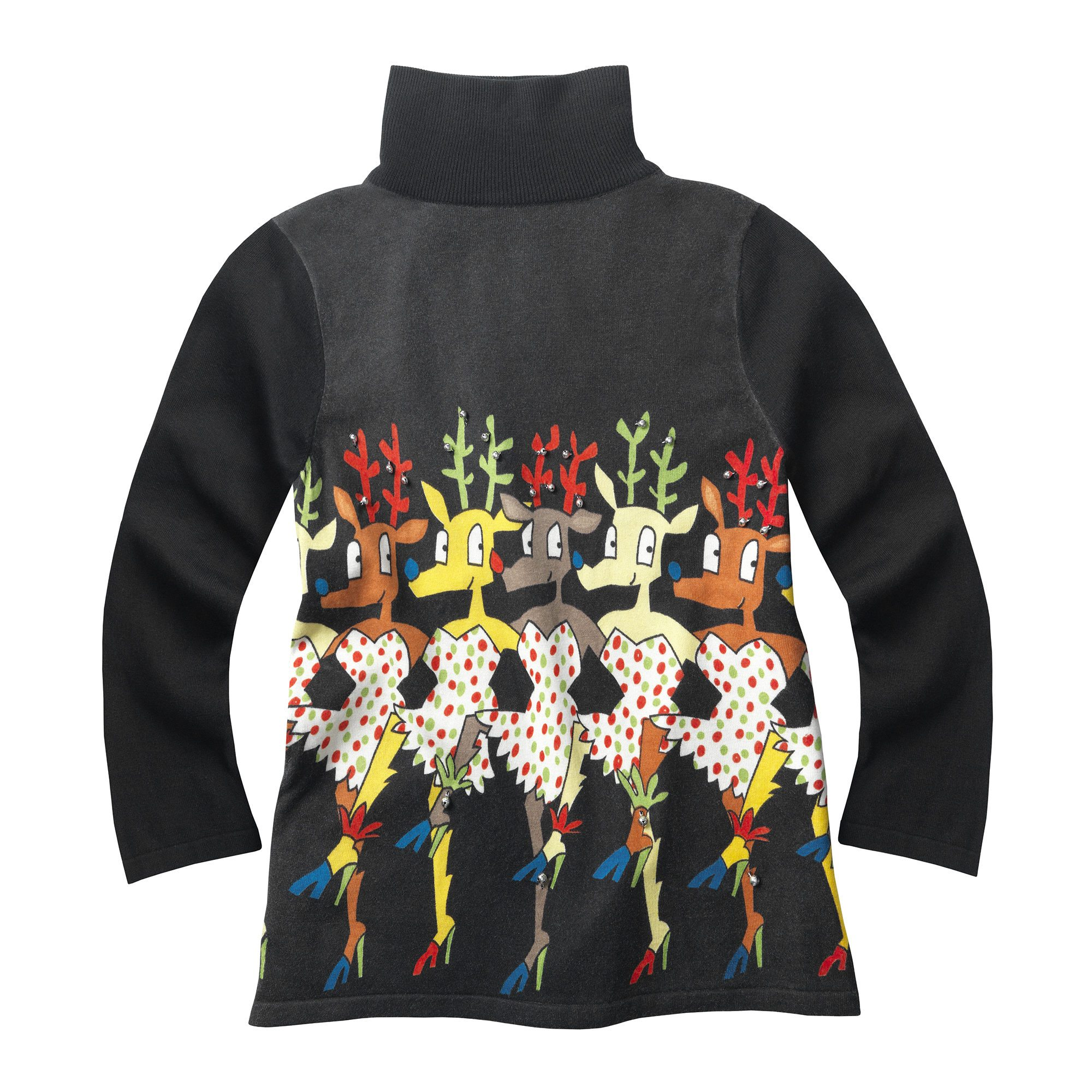 WHOOPI GOLDBERG Dancing Reindeer Turtleneck Sweater
