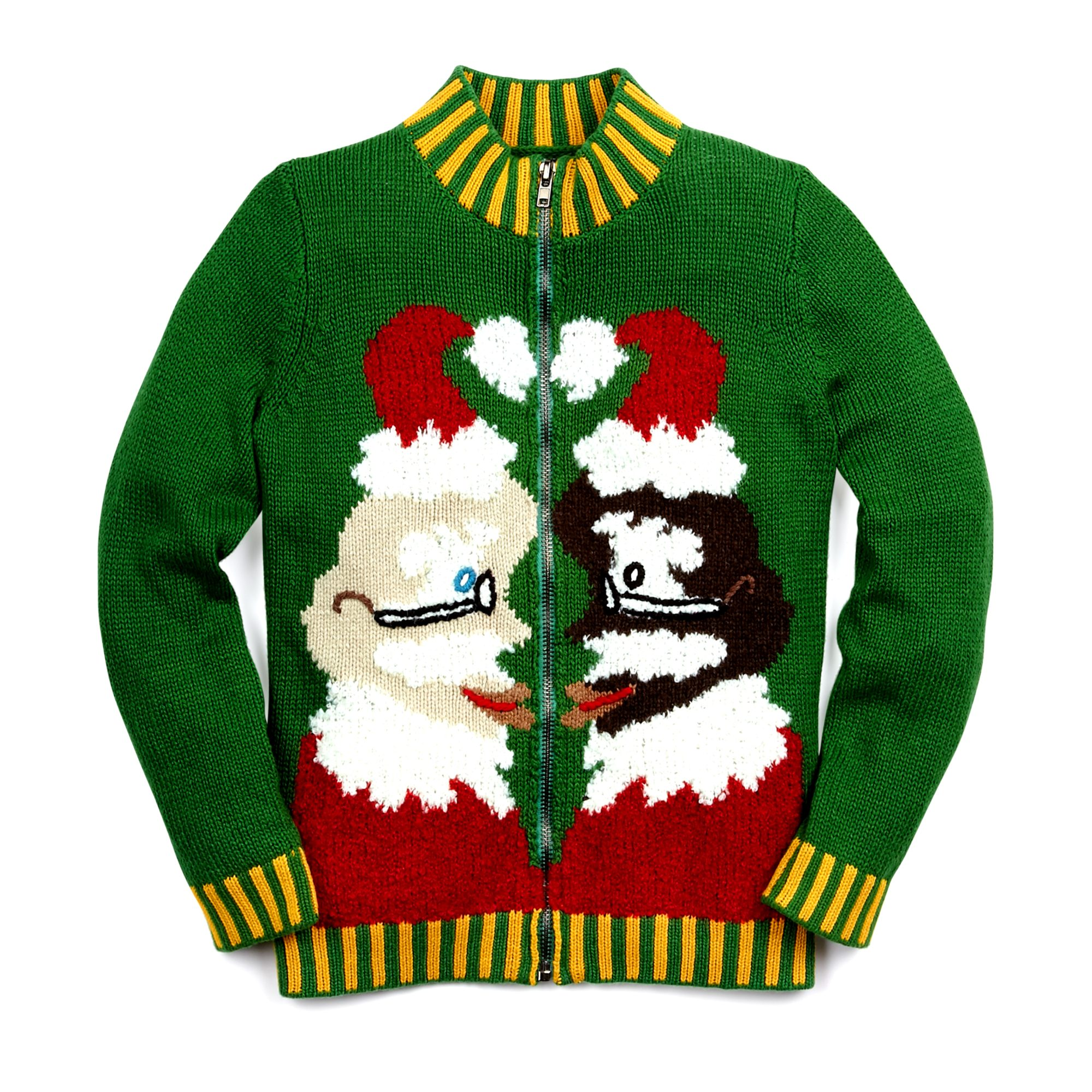 WHOOPI GOLDBERG Kissing Santa Zip Up Sweater, $179 CAD