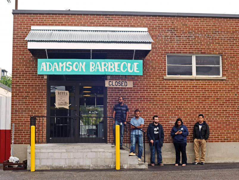 Who's lining up for Adamson Barbecue at 10:30 on a weekday morning?