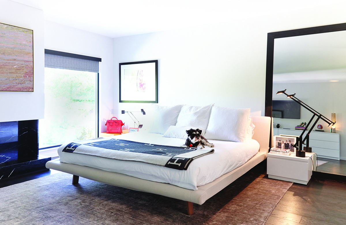 Lily, the Centners' pet schnauzer, is relaxing next to a black and white blanket from Hermès.