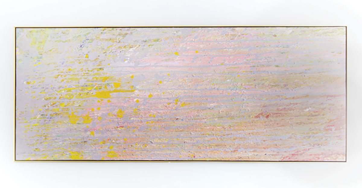 This 1972 abstract by Larry Poons is supposed to be hung vertically, but after Sebastien couldn't find a home for it, he flipped it sideways over the fireplace.