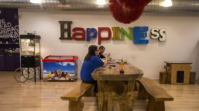 Inside G Adventures' Toronto HQ, with lights made of iMacs, a Star Wars-themed meeting room and a ball pit
