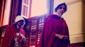 A group of women in <em>Handmaid's Tale</em> robes staged a pro-choice protest in the Texas senate