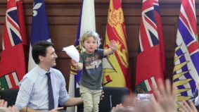 Twelve times Hadrien Trudeau stole his dad's thunder on the job