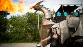 The wildest costumes we spotted at Toronto's Burning Man send-off party, featuring a fire-breathing dragon bus