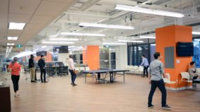 Inside the gigantic tech hub OneEleven, which houses 30 companies, a games room and robots