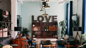 Inside Love Child, a new co-working and social space in the old Hoxton building