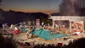 This photographer creates ridiculously elaborate freeze frames of wild pool parties and bowling alley brawls