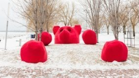 A giant red bear, a bamboo jungle gym and three other cool art installations that just popped up along the waterfront