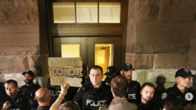 Some photos of the protest outside Doug Ford's all-night meeting to cut city council