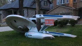 Why was a giant Starship Enterprise for sale on a Scarborough lawn?