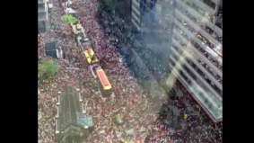This timelapse video captures the throng at the core of the Raptors victory parade