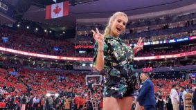 Which notable people were at last night's Raptors game?