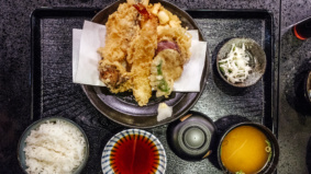 What's on the menu at Shitamachi Tendon Akimitsu, the first North American branch of Tokyo's award-winning restaurant